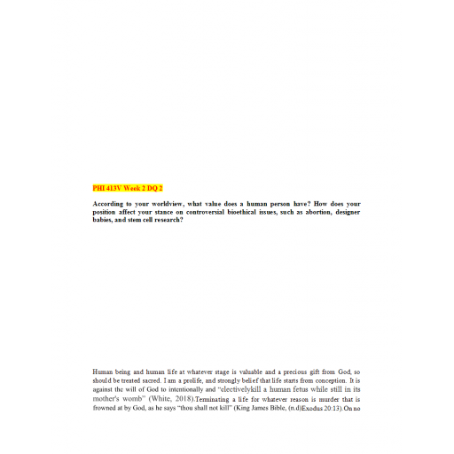 PHI 413V Topic 2 DQ 2: Summer 2020