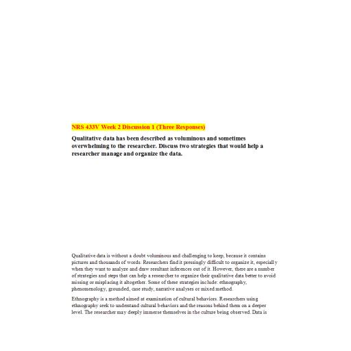 NRS 433V Week 2 DQ 1 (03 Responses): Summer 2020
