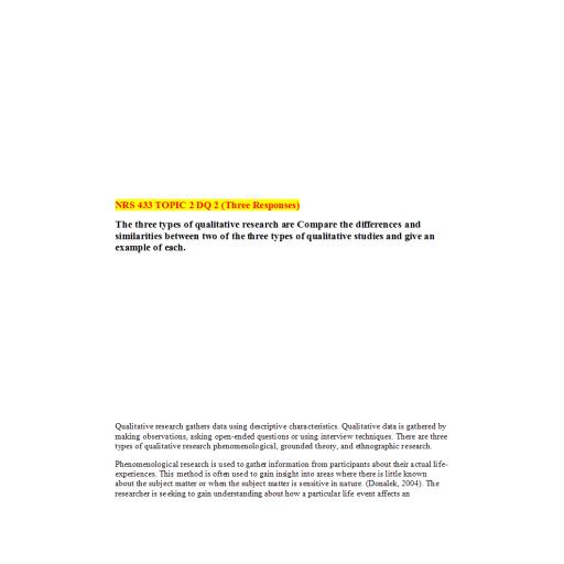 NRS 433V Week 2 DQ 2 (03 Responses): Summer 2020