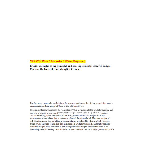 NRS 433V Week 3 DQ 1 (03 Responses): Summer 2020