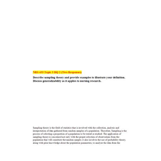 NRS 433V Week 3 DQ 2 (02 Responses): Summer 2020
