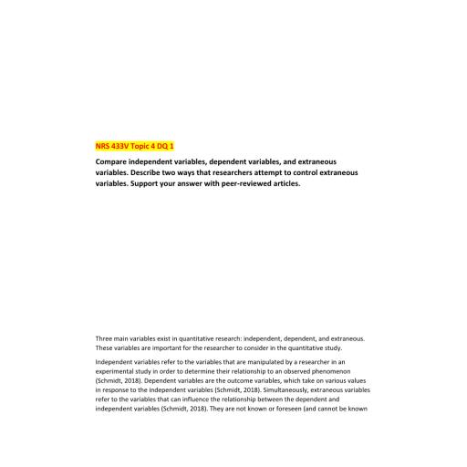 NRS 433V Week 4 DQ 1 (02 Responses): Summer 2020