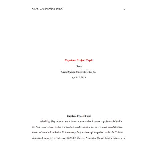 NRS 493 Topic 2 Capstone Project Topic - CAUTI: Spring 2020