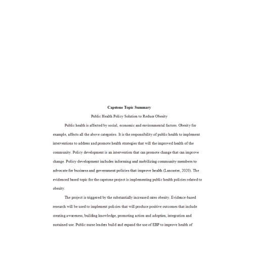 NRS 493 Topic 2 Capstone Topic Summary - Obesity: Spring 2020