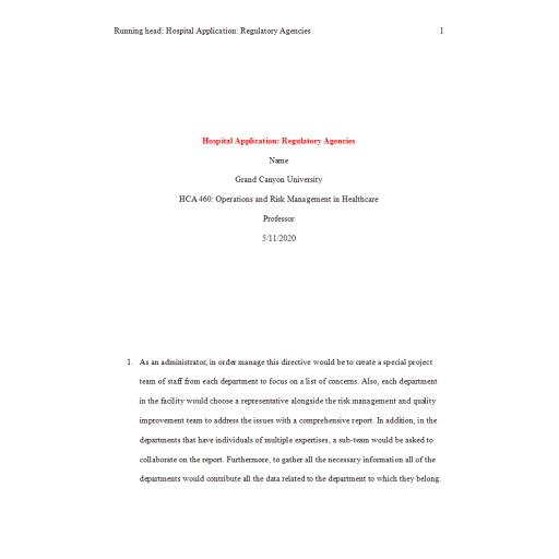 HCA 460 Topic 2 Assignment, Hospital Application Regulatory Agencies: 2020