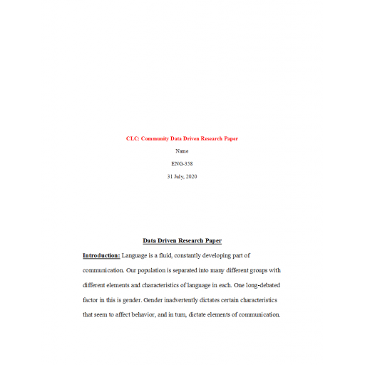 ENG 358 Week 3 Assignment Collaborative Learning Community Data-Driven Research Paper Outline