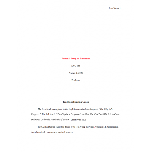 ENG 358 Week 4 Personal Essay on Literature
