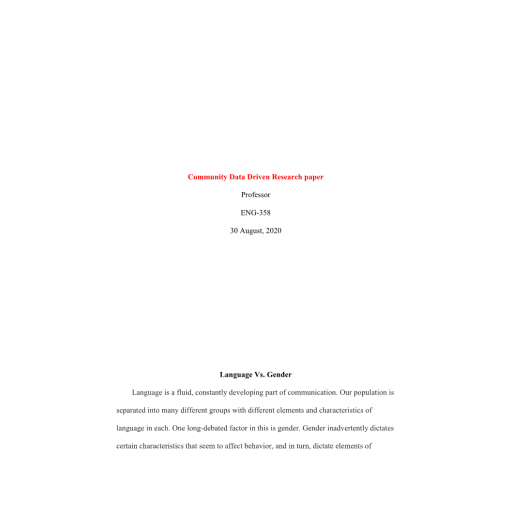 ENG 358 Week 8 Assignment Collaborative Learning Community Data-Driven Research Paper
