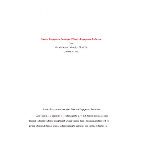 ELM 510 Week 1 Assignment, Effect Strategies Reflection Part 2