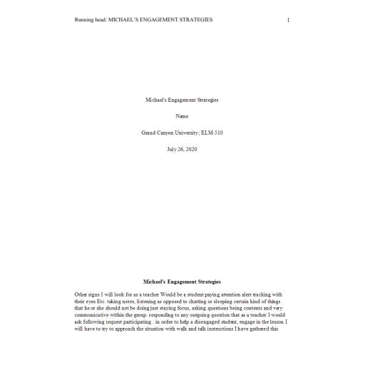 ELM 510 Week 1 Assignment Michael Engagement Strategies