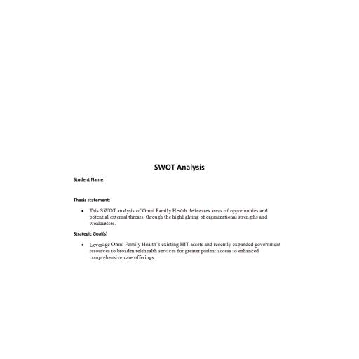 HCA 470 Business Plan Part 1 - SWOT Analysis of Omni Family Health