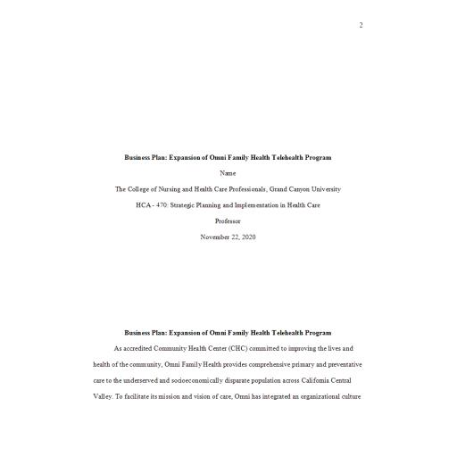 HCA 470 Week 8 Business Plan Final Draft