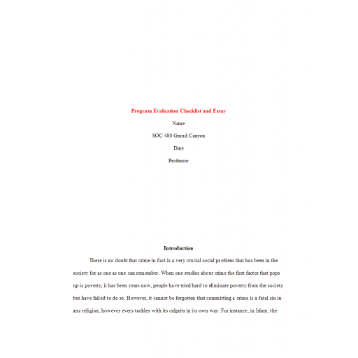 SOC 480 Week 3 Assignment Benchmark, Program Evaluation Checklist and Essay