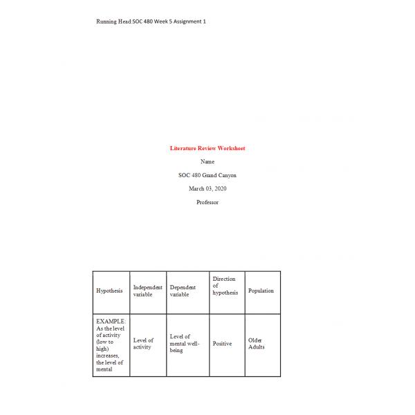 SOC 480 Week 5 Assignment 1, Literature Review Worksheet Part III (Ver 1)