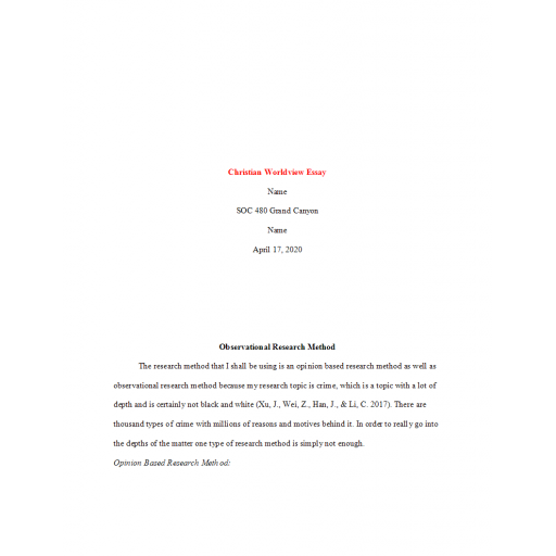 SOC 480 Week 6 Assignment, Christian Worldview Essay