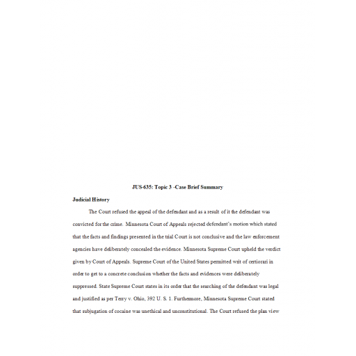 JUS 635 Topic 3 Week 3 Case Brief Summary: 2020