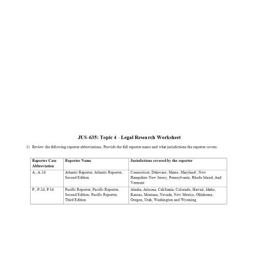 JUS 635 Topic 4 Week 4 Legal Research Worksheet 1: 2020