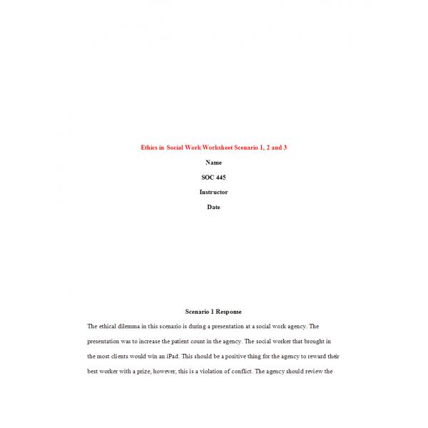 SOC 445 Week 2 Assignment, Ethics in Social Work Worksheet: 2020