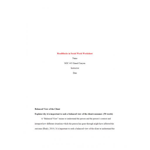 SOC 445 Week 4 Assignment, Roadblocks in Social Work Worksheet: 2020