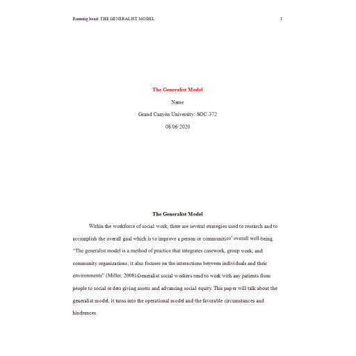 SOC 372 Topic 3 Assignment, The Generalist Model: Summer 2020