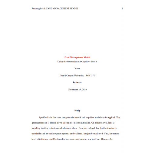 SOC 372 Topic 5 Assignment, The Case Management Model Simulation: Summer 2020
