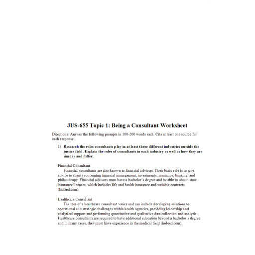 JUS 655 Topic 1 Assignment, Being a Consultant Worksheet: 2020