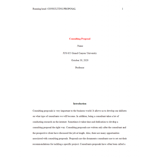 JUS 655 Topic 4 Assignment, Consulting Proposal: 2020