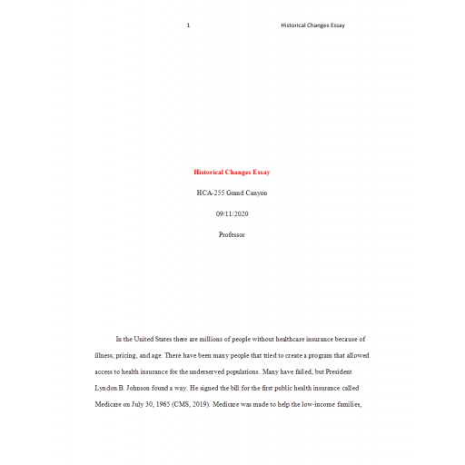 HCA 255 Topic 2 Assignment, Historical Changes Essay: 2020