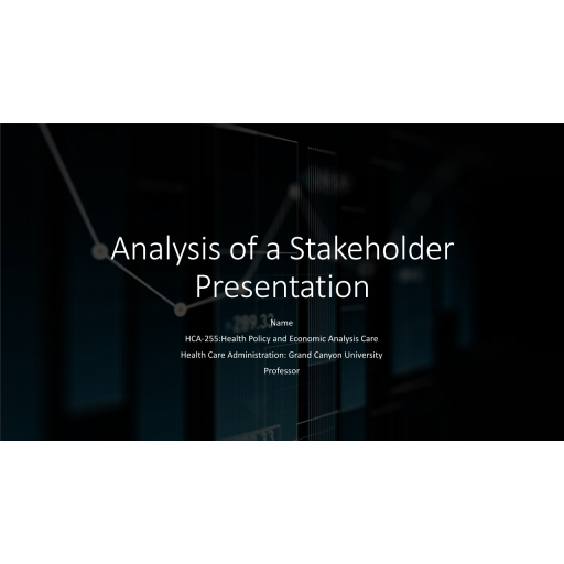 HCA 255 Topic 3 Assignment, Analysis of a Stakeholder Presentation - Centers for Disease Control: 2020