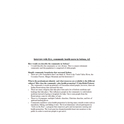 NRS 427VN Topic 4 CLC - Community Assessment and Analysis Presentation - Provider Interview