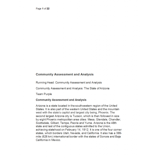 NRS 427VN Topic 4 CLC Community Assessment and Analysis (State of Arizona)