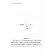 PSY 622 Topic 1 Assignment, Psychopathology, Subtypes and Assessments