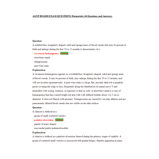 AGNP Board Exam - Question and Answers - Dermatology Assessment