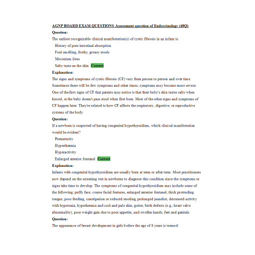 AGNP Board Exam Question and Answers - Endocrinology Assessment