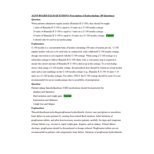 AGNP Board Exam Question and Answers - Endocrinology Prescription