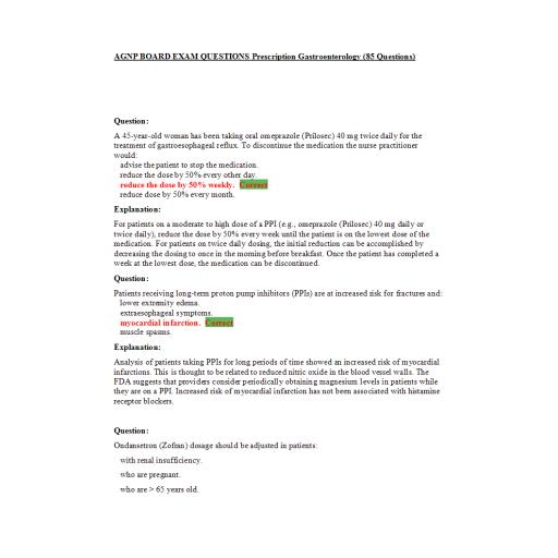 AGNP Board Exam Question and answers - Gastroenterology Prescription