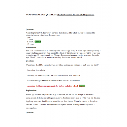 AGNP Board Exam Question and Answers - Health Promotion Assessment