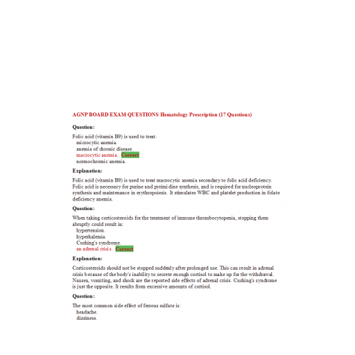 AGNP Board Exam Question and Answers - Hematology Prescription