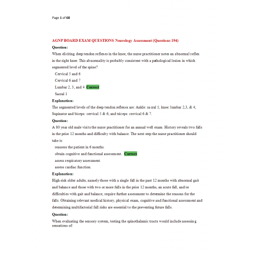 AGNP Board Exam Question and Answers - Neurology Assessment