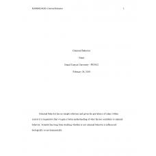 PSY 622 Topic 3 Assignment, Criminal Behavior