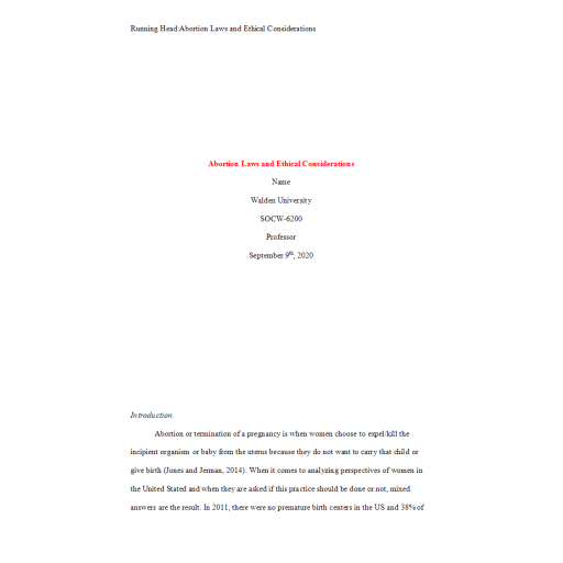 SOCW 6200  Week 2 Assignment, Abortion Laws and Ethical Consideration