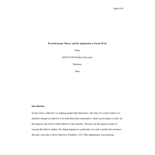 SOCW 6200 Week 3 Assignment, Psychodynamic Theory and Its Application to Social Work