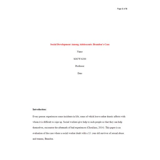 SOCW 6200 Week 4 Assignment, Social Development Among Adolescents Brandon's Case