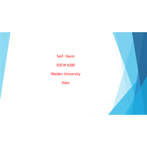 SOCW 6200 Week 6 Assignment, Self Harm Presentation