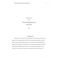 PSY 622 Topic 6 Assignment, Sexual Deviant Behaviors