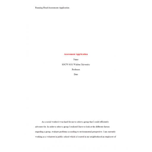 SOCW 6101 Week 8 Assignment, Assessment Application