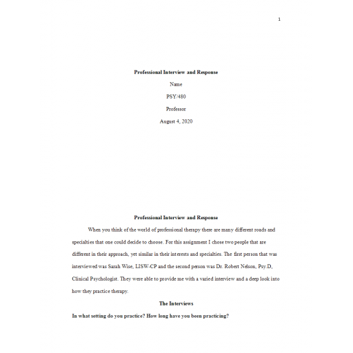 PSY 480 Week 4 Individual Assignment, Professional Interview and Response Paper 2: 2020