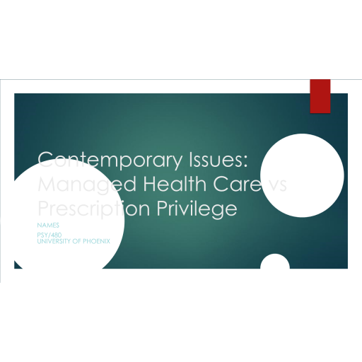 PSY 480 Week 5 Contemporary Issues - Managed Health care vs Prescription Privilege: 2020