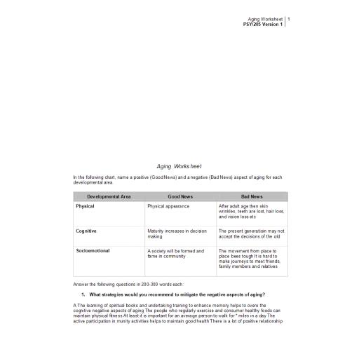PSY 205 Week 5 Aging Worksheet: 2020
