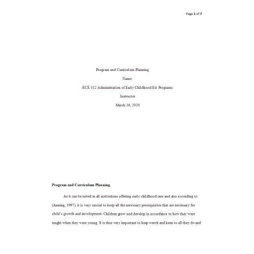 ECE 312 Week 2 Assignment, Program and Curriculum Planning: 2020